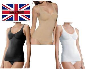 Ladies Vests Women Contoured Slimming Control Seamless Black White Nude S M L XL