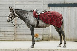 New Dark Horse Classic Red Tartan Fleece Exercise Sheet Winter Riding Horse