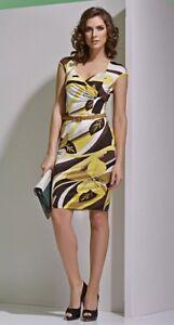 Schönes Kleid mit Gürlel Etuikleid TopDesign  Knielang Ärmellos Mehrfarbig Gr. L