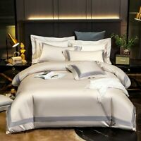 100SEgyptian Cotton Bedding Set Embroidered Duvet Cover Luxury Fitted Sheet Flat