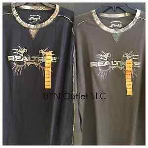 Buckhorn River XXL Men's REALTREE Long Sleeve CrewNeck Shirt Camo Black or Brown