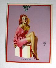1940s Earl Moran Pin Up Girl Picture Red Head Under Mistletoe