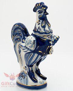 Rooster gzhel porcelain shtof for vodka liquor handmade