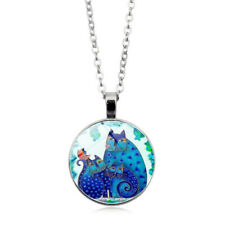 Jewelry Three Blue Cat Photo Tibet Silver Cabochon Glass Pendant Chain Necklace