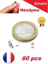 Lot de 60 Aimants Neodyme N35 panachés : 2X1mm 2X2mm Photo, Fimo, Scrapbooking..