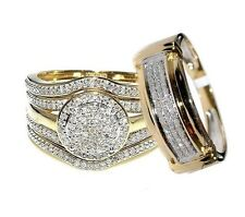 His and Her Bridal Trio Rings Set 4 Piece 10k Yellow Gold 0.68ct Diamonds 19mm W