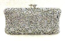 Full Silver Flower Design Handmade Austrian Crystal ~Bridal /Evening Clutch Bag