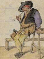 CORNELIS DUSART DUTCH PEASANT SMOKING OLD ART PAINTING POSTER PRINT BB5156B