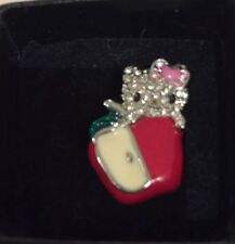 NIB Hello Kitty Sanrio Ring Enamel Apple Rhinestone Crystal OZ adjustable