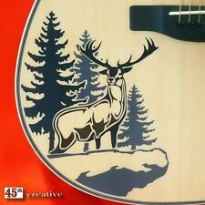 Deer Cliff Acoustic Guitar Graphic Decal Sticker - fits fender starcaster squier