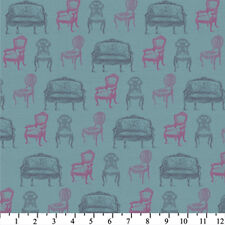 David Textiles Wild Apple Teal Vintage Chairs 2003-2C-2 $8.50yd FREE US SHIP