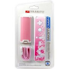 Pink Battery Door Cover Lid + Sticker + Strap for Nintendo Wii Remote Rubberized