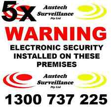 5 x WARNING Electronic Security Coloured Sticker 100x100mm