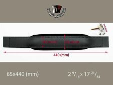ACCORDION BASS STRAP Black Leather  Black Velvet 440x65 With Hardware Italy