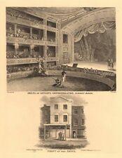 ASTLEY'S AMPHITHEATRE, Westminster Bridge Road, Lambeth. Interior & front 1834