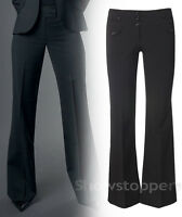 NEW Womens Black Tailored Straight Trousers Work Office School Size 6 to 16