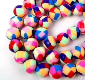 25 Handmade Polymer Clay Round Beads Rainbow Colorful 8mm