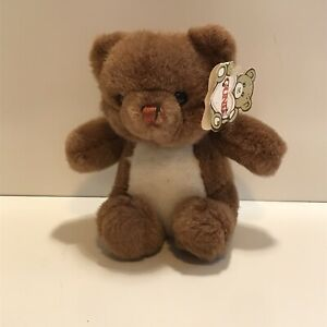 """GUND Teddy in Basket STYLE 2015 with Tag 7"""" Tall 1986"""