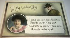 Rare Antique American World War 1 Soldier Boy & Love! Military WWI Postcard! US!
