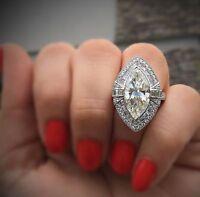 brilliant cut marquise shape diamond 3 ct wedding women ring 14k white gold over