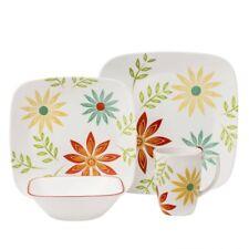 Corelle Dinnerware Set 16 Piece Square Service for 4 Floral Pattern Plates Bowls