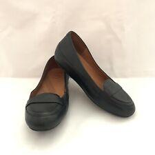 FitFlop Due Black Leather Biomimetix Sole Low Wedge Flat Women's US 8.5 EU 39