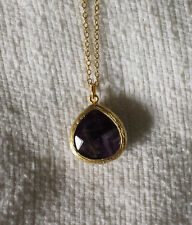 New Luxe Couture Plum Agate Gold Faceted Teardrop Pendant Necklace