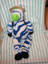 Zipes Zany Brainy White & Blue plush Zebra with Backpack Safari Hat Stuffed