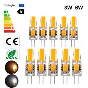 1/5/10X Dimmable G4 COB LED 12V Lamp 3W 6W Mini Light Bulb AC/DC Warm/Cold White