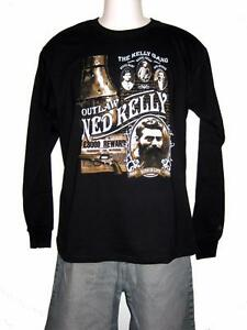 Ned Kelly Outlaw Legend 'Kelly Gang' Long Sleeve Black T Shirt S, M,L,XL,XXL,3XL