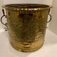 Vintage Large Turkish Brass Moroccan Bohemian Indoor Outdoor Planter