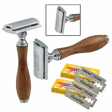 Wooden Handle Safety Razor + 10 double edge shaving blades shaver