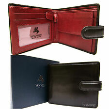 Mens Wallet Real Leather Black Red Visconti Luxury Trifold New in Gift Box TR35