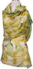 Schal scarf stole Wolle Seide wool silk bedruckt wool silk printed  Gelb Grün