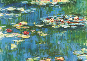 Monet - Water Lily - Large A2 size 42x59.4cm QUALITY Canvas Art Print Unframed