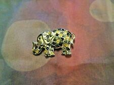 Vintage Silver Tone Black Enamel & Gold Glitter Checkered Elephant Pin Brooch