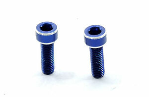 2 Bicycle Water Bottle Cage Bolts, Blue, 7075 T6
