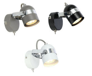 GU10 Grey White Black Retro Wall Bedside Lamp Light Fitting With Toggle Switch