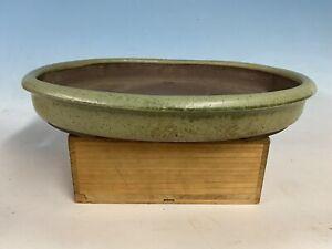 "Large Green Glazed Japanese Bonsai Tree Pot By Tokoname Suishoen 18 1/4"""