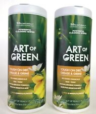 Lot of 2 Art of Green Powerful Cleaning Wipes Citrus and White Flowers 70 Wipes