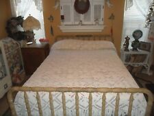 LOVELY ANTIQUE HAND~MADE CROCHET CROCHETED OFF WHITE BEDSPREAD