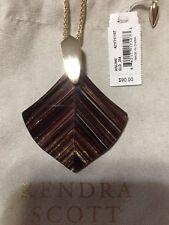 Kendra Scott Aislinn Brown Dusted Glass 14k Gold Long Pendant Necklace
