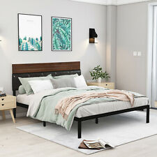 Full/Queen Size Platform Bed Frame w/Wooden Pu Leather Headboard Rustic Brown