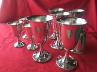 Lot Of 9; Vintage Silver Plated Goblets/Chalice; Maker SC ENGLAND, 2 Szs In Lot