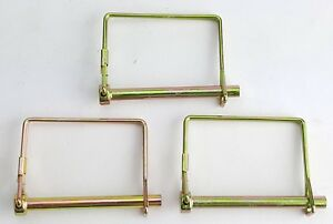 """3 PACK LOT 1/4"""" TRAILER COUPLER SAFETY SNAP LOCKING PIN SQUARE TOWING HITCH"""