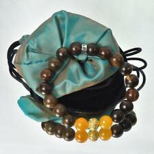 "Bracelet Gaharu Agar Oud Wood Yellow Calcite 18K Gold Vermeil Sterling Bead 6½"""