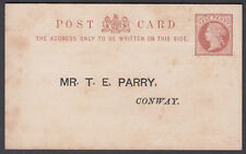 QV Conway Union / Poor Rate / Mr T.E.Parry; 1/2d brown Stationery Postcard;Wales