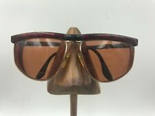 Vintage Valentino V590 713 Black Red Marble Gold Square Sunglasses Frames Italy