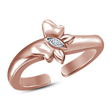 Cubic Zirconia Butterfly Adjustable Toe Ring 14K Rose Gold Plated 925 Silver