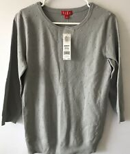 NWT Elle Gray/Grey Junior's Cute Medium Light Weight 3/4 Sleeve Sweater